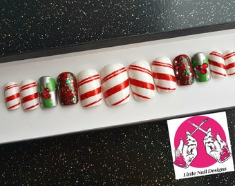 Candy Cane | Holly Red Swarovski Crystals | Christmas Hand Painted False Nails | Little Nail Designs