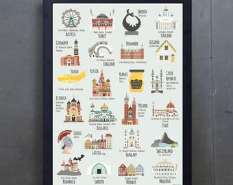 Illustrated Buildings - Architecture - Europe Art Print - A2 Colourful Art Print - Russia - France - Hand-drawn - Poster - Ready to Frame