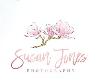 Magnolia Logo, Rose Gold Foil Logo, Watercolor Flowers Logo, Floral Logo Design, Pink Watercolor Logo, Wedding Photography Logo.