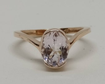 Oval morganite ring,rose gold pated ring ,925 sterling silver ring