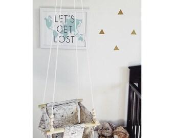 Map swing, baby swing, baby fabric swing, indoor swing, outdoor swing, porch swing, nursery decor, toddler swing, wooden swing, map fabric,