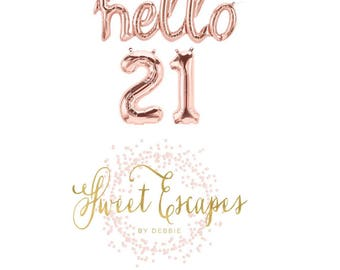 Hello 21 Rose Gold Script Balloon~47 inch Hello Balloon~21st Birthday Party~Birthday~ Cheers to 21~Rose Gold Balloons~Hello 21 Banner