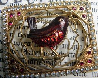 Vintage robin brooch