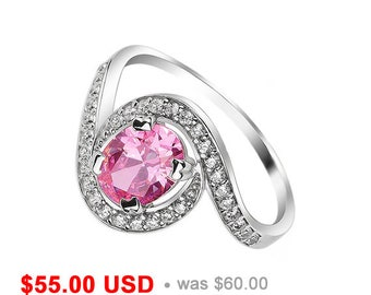 Pink Engagement Ring Pink Promise Ring for Her Swirl Ring Halo Ring Oval Cut Engagement Ring Pink Wedding Ring Delicate Ring for Girlfriend