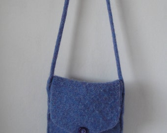 blue shoulder bag, felt shoulder bag, felted wool bag, blue felt purse, lilac blue felt bag, lavender felt bag, felt purse, knitted felt bag