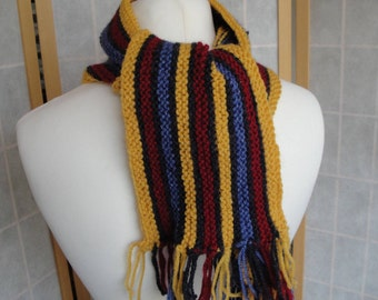 childs scarf, college stripe scarf, winter neckwarmer, yellow multi scarf, knitted scarf, red blue yellow scarf, wool mix fringed scarf