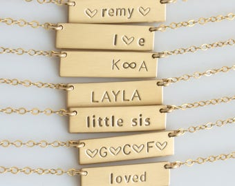 Small Custom Name Plate / Personalized Bar Necklace / Monogram Gold Bar Necklace/Gold Silver Name Bar Necklace/Gift for Her/LEILAjewelryshop