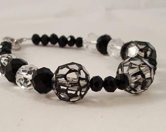 Black & Clear Glass Beaded Bracelet - Black Bracelet - Clear Bracelet - Spider Web Bracelet - Beaded Bracelet - Black - Bracelet - Clear