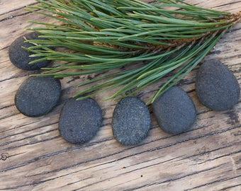 Small Dark Gray Stones - Flat Pebbles - Natural Tumbled Rocks