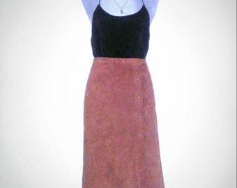 Vintage Tan Suede Leather Midi Wrap Skirt 80s 90s