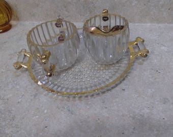 Mid Century 1950's Jeannette National Pattern Glass Vintage Clear Glass Hobnail Base Ridged 22 K Gold Rim Set With Plate Tray