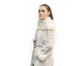Sheared fur mink coat with leather belt F130