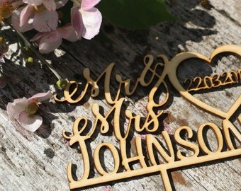 Personalized wedding cake topper/Laser cut wedding signs/Custom cake topper/Newlyweds Cake Topper/Bride&groom cake topper/customnames topper