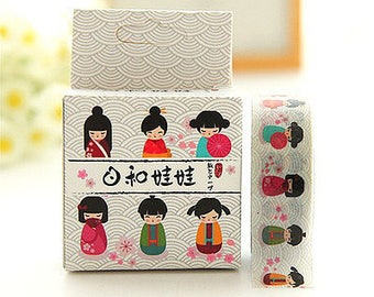 Planner Accessories: Japanese Dolls / Kokeshi  Washi Tape - for Planners & Scrapbooks!