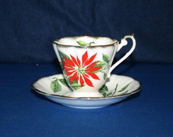 Vintage Royal Standard Poinsettia Teacup and Saucer 1950's Chapmans Longton Ltd pottery Christmas Holiday Tea Cup & Saucer English Tea Party