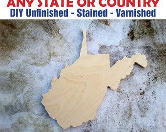 West Virginia, West Virginia Wood Cutout, West Virginia Wall Art, West Virginia Wood Sign, West Virginia Wood, Wooden West Virginia Sign
