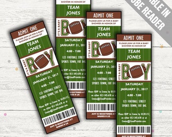 Football Baby Shower Invitations. Baby Boy Invites. Editable. Printable. Instant Download.