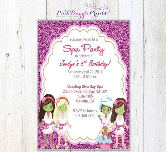 5x7 pink glitter spa party birthday invitation digital file by pink il570xn filmwisefo