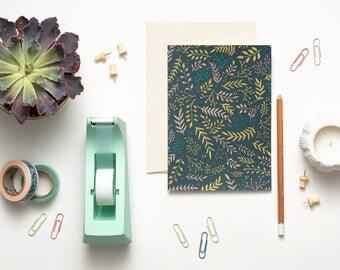 "Wild Meadow Card | 5x7"" (A7) | Daylight, Green, Flowers, Pattern, Botanical, Stationery, Blank Interior, Note Card, Feminine, Bohemian"