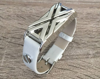Grey Leather Band for Fitbit Flex Activity Tracker Vegan Bracelet Silver Fitbit Flex Holder Fitness Activity Tracker Fitbit Flex Band