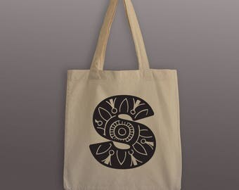 Mandala Letter Tote Bag - Cotton Tote - Cotton Tote Bag - Mandala  - Mandala Tote Bag - Letter Tote Bag - Monogram Tote - Monogram Bag