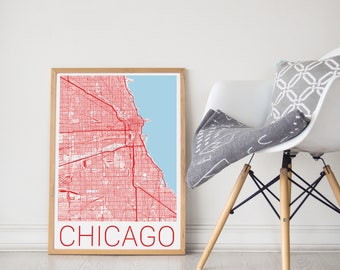 Chicago Map/ Chicago Print/ Chicago Poster/ Chicago Map Print/ Chicago Wall Art/ Chicago IL