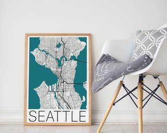 Seattle Poster / Seattle Print / Seattle Map / Seattle Map Print / Seattle Wall Art / City Map Print / Seattle Washington Map /