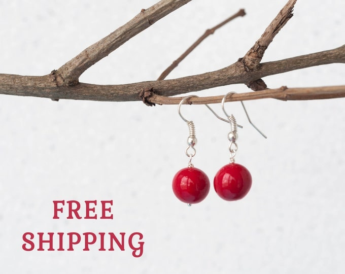 Red ball earrings, Ruby red earrings, Everyday earrings, Simple earrings, Love earrings, Small red earrings, Red earrings dangle