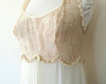 Vintage Vanity Fair natural lace night gown