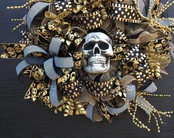 Halloween wreath, skull wreath, halloween front door wreath, large halloween wreath, scary halloween wreath, halloween decorations, wreath