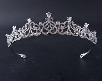 CZ Wedding tiara CZ bridal tiara Crystal wedding tiara Zirconia crown Swarovski bridal tiara  Zirconia tiara Wedding diadem