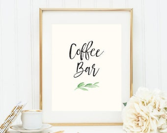 Printable Greenery Coffee Bar Poster (3 versions)