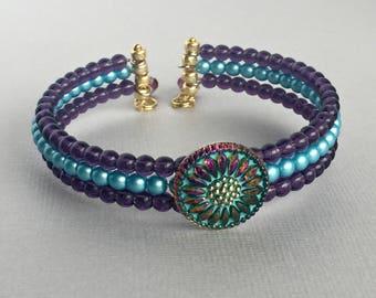 Czech Glass Flower Cuff Bracelet, Purple and Turquoise Bracelet, Summer Statement Jewelry, Beaded Cuff Bracelet, Handmade Jewelry, BDD001