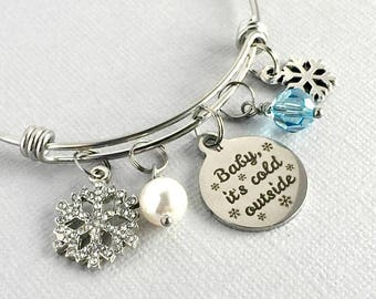 Baby It's Cold Outside, Snowflake Bracelet, Snowflake Charm Bangle, Snowflake Jewelry, Snow Lover Gift, Winter Jewelry