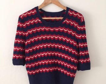 Victory Jumper** Navy White Red stripes. Hand-knit 40s Vintage WWII English Pattern