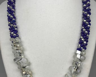 White Artic and Electric Violet Necklace