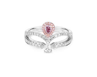 20% SALE Pink Diamond Ring, Diamond Engagement Ring, 18K white and rose gold, Cushion cut Engagement Ring, Diamond Halo Ring, Double Halo