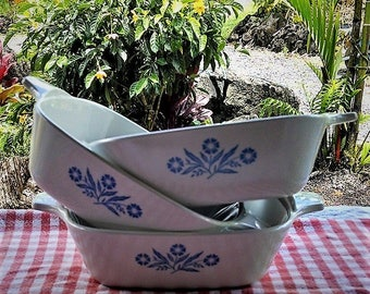 Corning Ware  Blue Cornflower Petite Pans Set of Three (3), Vintage Corning Ware Blue and White 1 3/4 Cup Casserole Dishes P-41-B