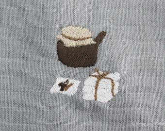 Machine embroidered pattern design oriental medicine - instant download