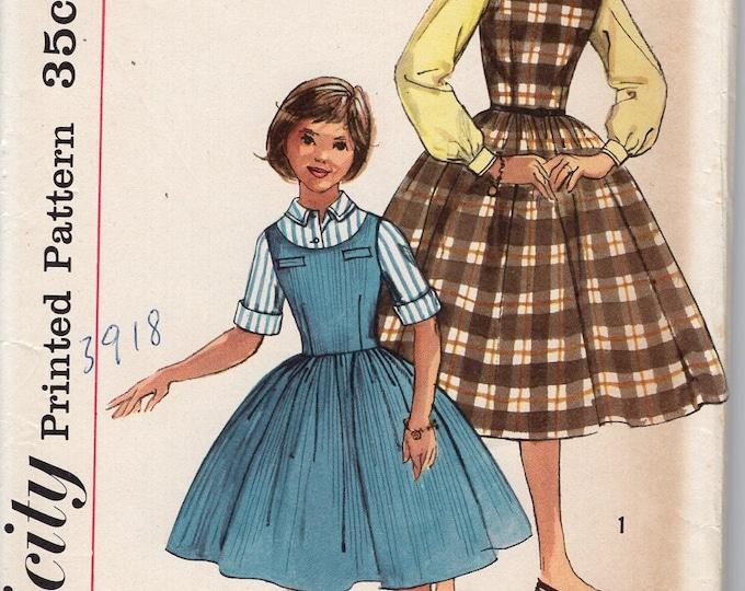 FREE US SHIP Vintage Retro 1950's 50's Sewing Pattern Simplicity 2204 Girls Dress Jumper Shirt  Uncut size 14 Breast 32