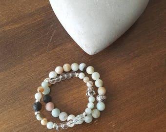 Amazonite, rock crystal and lava stone, set of 2 bracelets, Buddha.