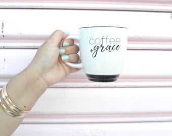 PRE ORDER - Coffee + Grace Mug for the Coffee Lover Brunch Faith Hope Love Gifts for Her Office Pen Holder