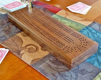 Cribbage board with 3 tracks | walnut Cribbage board