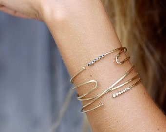 Open cz bracelet, open black cz bracelet, open seven cz bangle, open cz bangle, open black CZ gold bangle, adjustable bangle