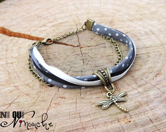 """Bracelet with polka dots ribbons black and white Dragonfly bronze and chain """"Twilight"""""""