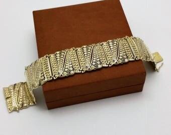 Bracelet silver 800 gold plated Markasiten Art Nouveau style filigree antique SA313
