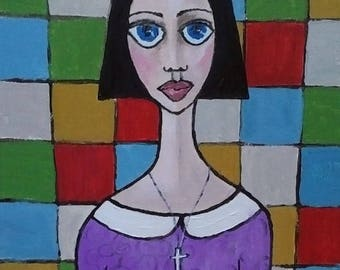 """OOAK Original Acrylic 9"""" x 12"""" Painting """"Sunday Girl"""" done on Canvas in Handmade Wood Frame, Ready to Hang"""