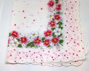 Pink White Floral Handkerchief, Confetti Hanky with Florals, Pink White Hanky, Scalloped Edge Hanky, White Handkerchief
