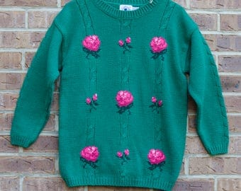 Vintage 80s Pink Rose Sweater- Vintage Sweater, Vintage Crewneck Sweater, 90s Sweater, 80s Sweater, Pull Over Sweater, Rose Print Sweater