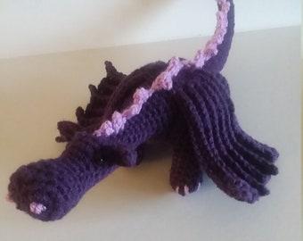 Crocheted Dragon, Dragon, Purple Dragon, Amigurumi, Ready To Ship, Stuffed Dragon, Serpent, Seafish, Sea Monster, Dragonet, Plushie